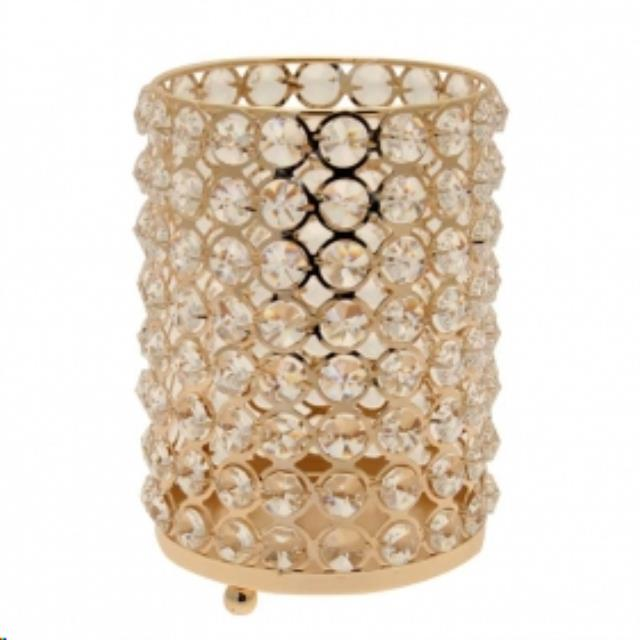 Where to find DECOR, CRYSTAL CYLINDER  GOLD  6 in Atlanta