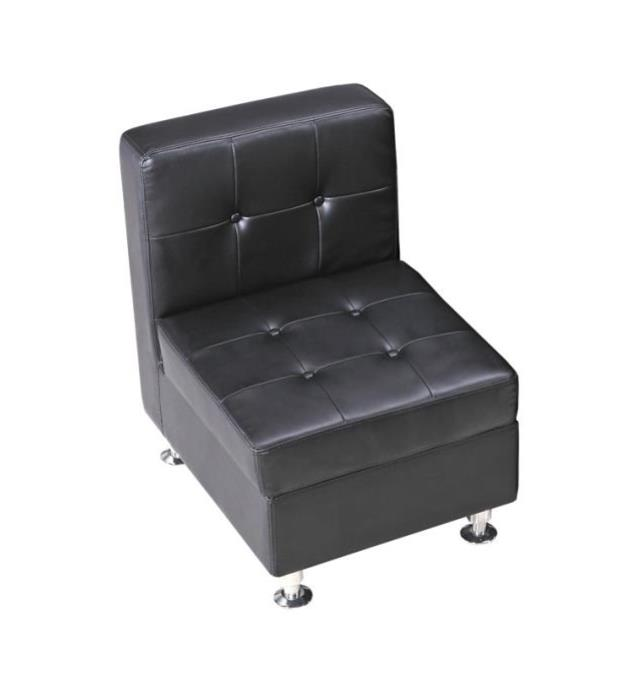 Where to find BLACK LEATHER TUFTED ARMLESS CHAIR in Atlanta